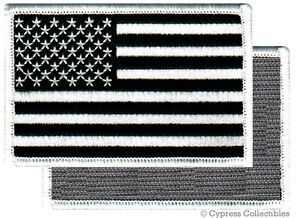 AMERICAN-FLAG-EMBROIDERED-PATCH-BLACK-WHITE-USA-US-w-VELCRO-Brand-Fastener