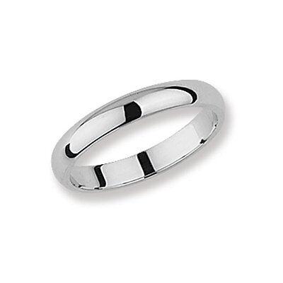 Willensstark Wedding Ring 3mm D Shape Wedding Band Sterling Silver Platinum Plated Size J - Z