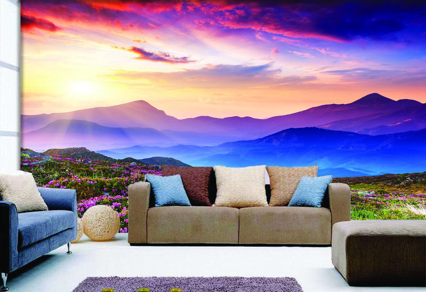 3D Sonne Berg Blaumen 97 Tapete Wandgemälde Tapete Tapeten Bild Familie DE Summer