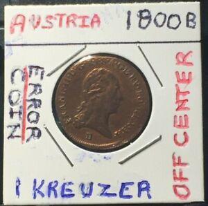 1800-B-AUSTRIA-EMPIRE-1-KREUZER-OFF-CENTER-ERROR-COIN