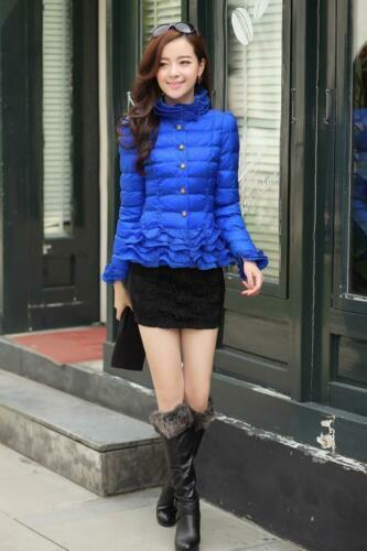 Women Short Slim Fit Ruffle Trim Lace Puffer Warm Cotton Coat Jacket Outwear New