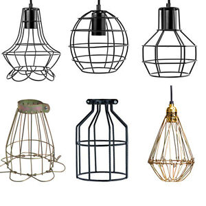 vintage pendant trouble light bulb guard wire cage ceiling hanging lampshade. Black Bedroom Furniture Sets. Home Design Ideas