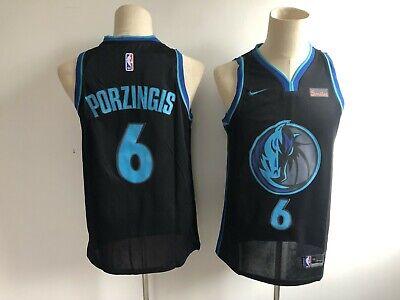 cheap for discount bf0e3 4df3c Men's Dallas Mavericks #6 Kristaps Porzingis City Edition Black Jersey |  eBay