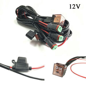 12V-One-to-Three-Car-LED-Driving-Light-Wiring-Loom-Harness-High-Beam-Quick-Fit