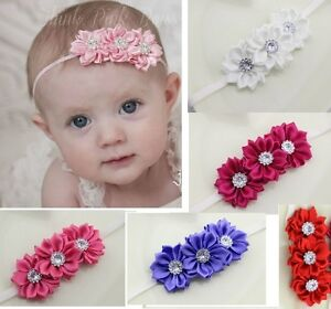 Baby Infant Toddler Satin Flowers Headband with Diamontes 0-12 months