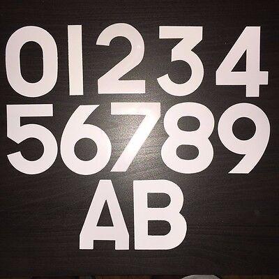 "WHITE Self Adhesive Stick on Wheely Wheelie Bin House Number SMALL 3/"" FREE P/&P"