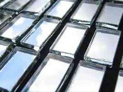 100 Pack 10 x 20 mm  3mm Thick Glass Silver Mosaic Mirror Tiles
