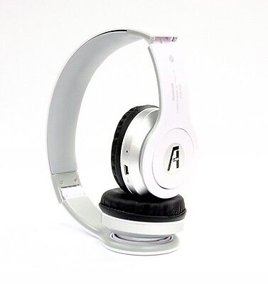 Wireless Bluetooth Stereo Headset with Mic, Mp3 Player with Card - White iPhone