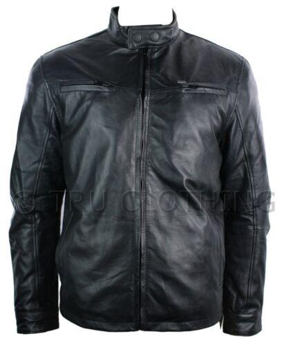 Mens leather jacket vintage SANTI Stile Biker Nero Morbido Retrò Con Cerniera