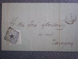 CARTA AÑO 1879 PAMPLONA ZARAGOZA MATASELLO LUJO SOBRE EDIFIL 204