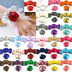 5-100Pcs-DIY-2-034-Satin-Ribbon-Rose-Flower-Craft-Wedding-Appliques-bow-sewing-Decor