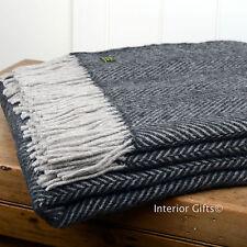 PURE NEW WOOL British THROW Sofa Blanket Rug DARK GREY Herringbone Silver Fringe