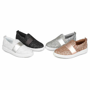 Image Is Loading Brinley Co Womens Glitter Ribbon Slip On Sneakers