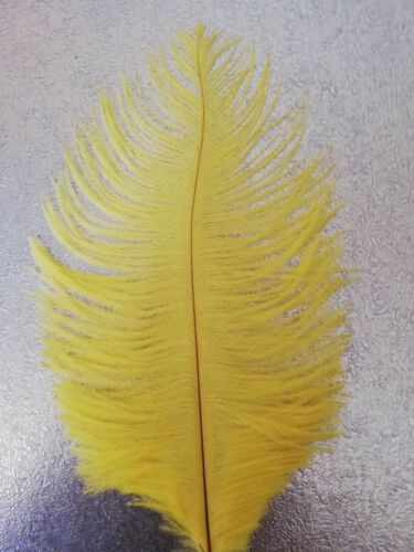 "YELLOW Craft Hats Fascinators 5 x OSTRICH Feathers 6-8/"" Cards Cakes"