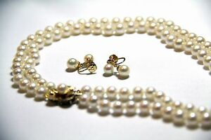105 cultured pearl double Strand necklace 18.0 princess length Earrings set