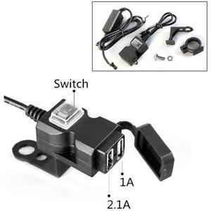 1X-Waterproof-Dual-USB-12V-Motorcycle-Charger-Socket-Switch-amp-Mounts