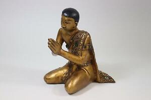 Sedentarie betender Monaco intagliati legno personaggio Vetro Decorazione con pietre Thailand (rk488)