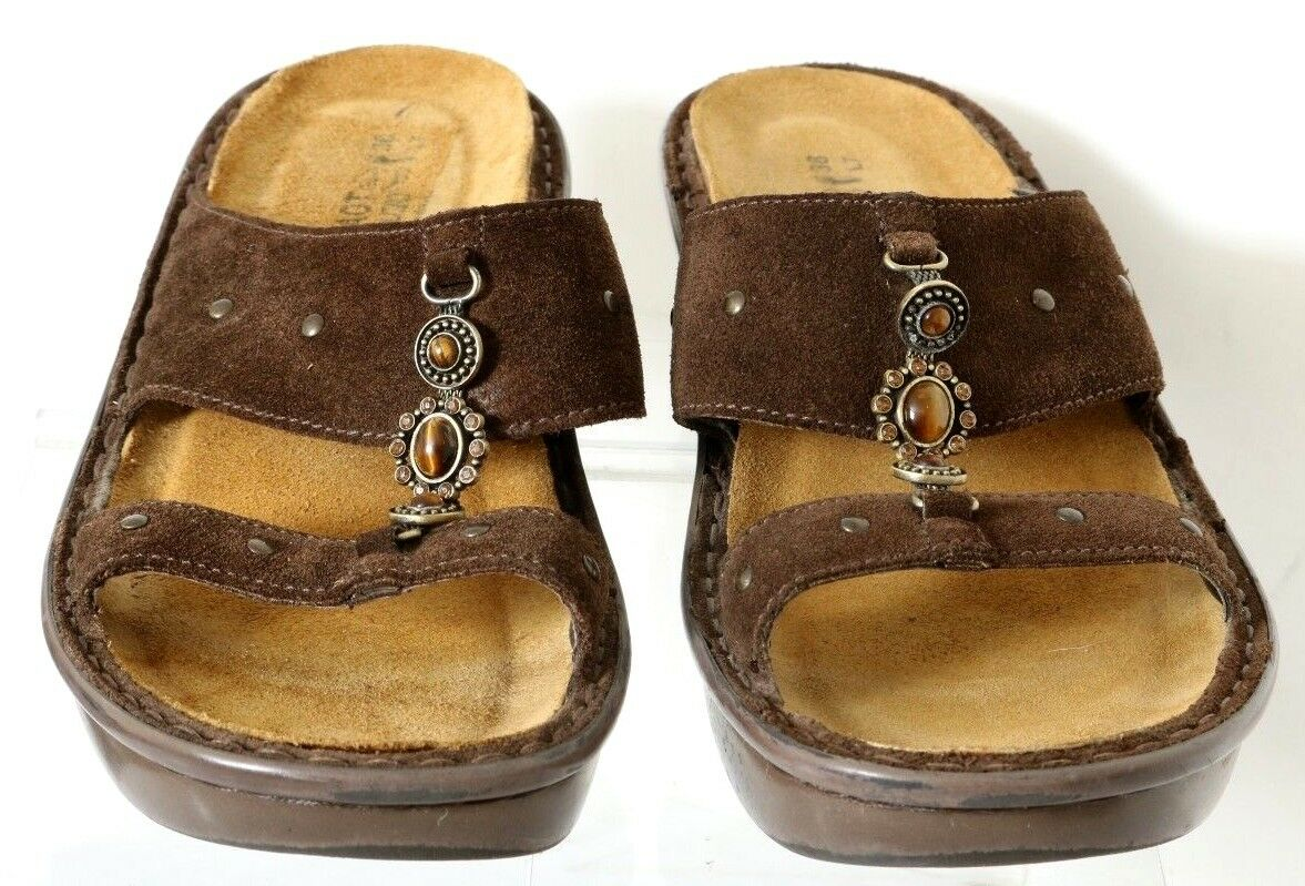 Naot Chocolate Suede Suede Suede Open-Toe 2-Strap Jeweled Wedge Slide EU 38 Women's US 7 385e4f