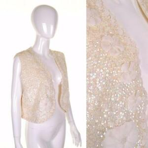 VTG 70's 80's White Sequin Waistcoat 14 16 Sleeveless Jacket Flower Trim Glam