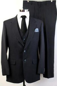 Herren Vintage 3pc Anzug dunkelblau Nadelstreifen Blazer Jacke Weste Small 38 R