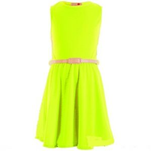 f38820468fe7 NEW GIRLS NEON YELLOW SKATER DRESS PARTY SUMMER BELT AGE 7 8 9 10 11 ...