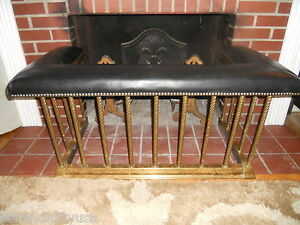 ANTIQUE ENGLISH BRASS CLUB FENDER FIREPLACE SEAT * BENCH 1890 ...