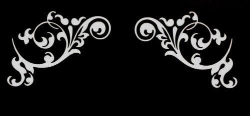 """1 SET Floral Corner-Vinyl Decal Wall Window Art Sticker 15/"""" Long x 10.70/"""" High"""