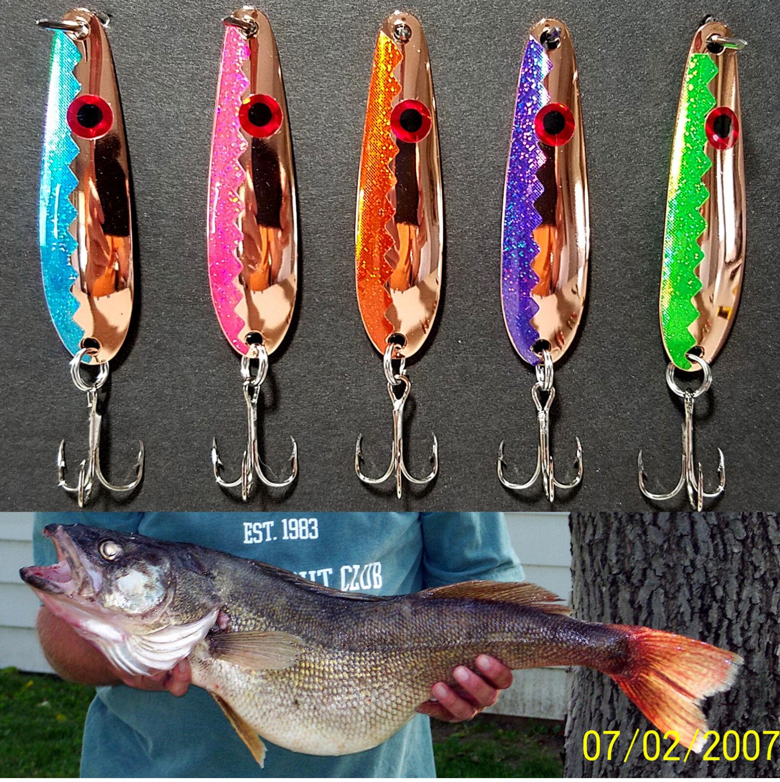 "5 2 5//8/"" Gold Flash Trolling Flutter Spoons Lake Erie Walleye Candy 258GLDGT"