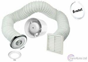4-034-100mm-Inline-Extractor-Fan-Timer-LED-Light-Chrome-White-Kit-Bathroom-Shower