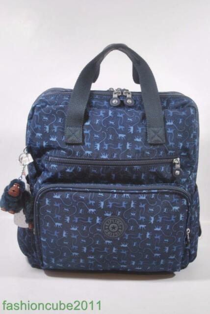 New Kipling Audrie Diaper Bag Backpack With Changing Pad Monkey Mania Blue