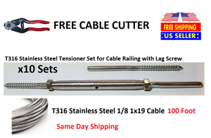 "390/' 1//8/"" 1x19 Strand Stainless Steel Cable Best for Cable Railing T316L"
