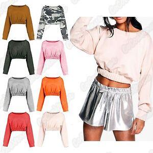 Sweatshirt Short Crop Ladies Long Sleeve New Hem Elasticated Jumper xwY7qOxZ