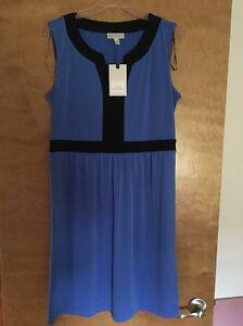 Details about NWT DANA BUCHMAN LADIES BLUE BLACK DRESS SIZE LARGE