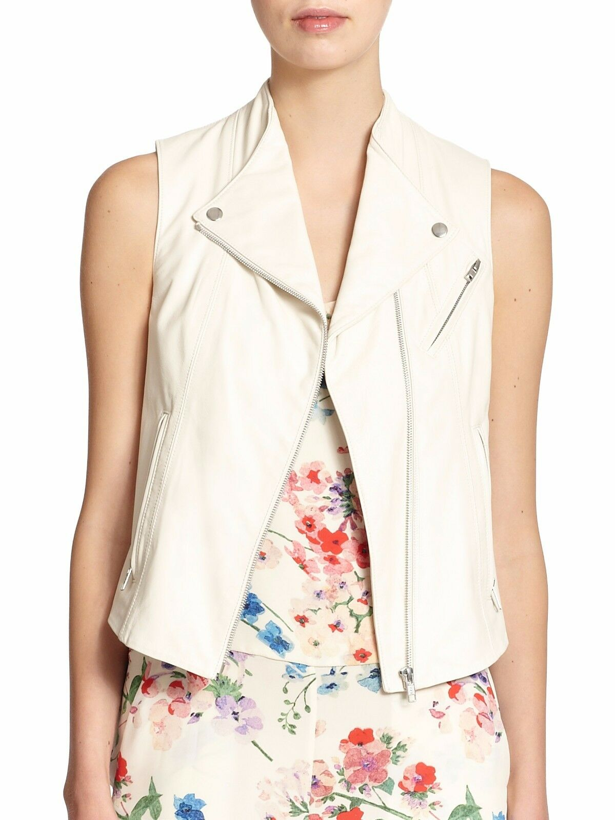 855 Brand New Theory Zita Leather Moto Vest White Women Helmut Lang Vince