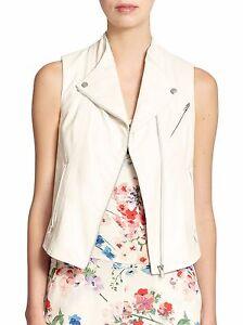 adc7819bb9 855 Brand New Theory Zita Leather Moto Vest White Women Helmut Lang ...
