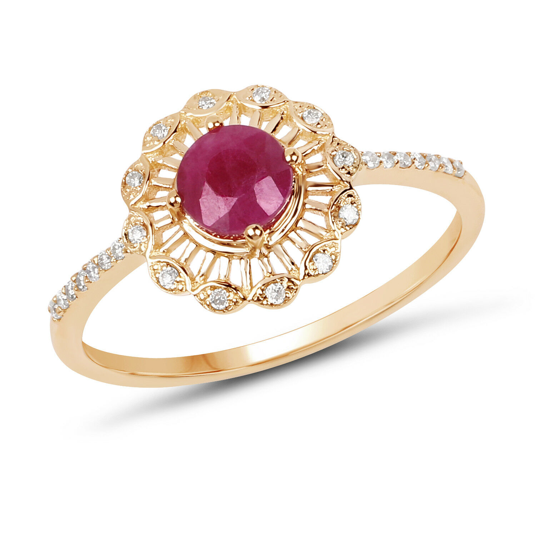 Wedding Engagement Ring in 14K Yellow gold 0.63 ct Genuine Pink Ruby & Diamond