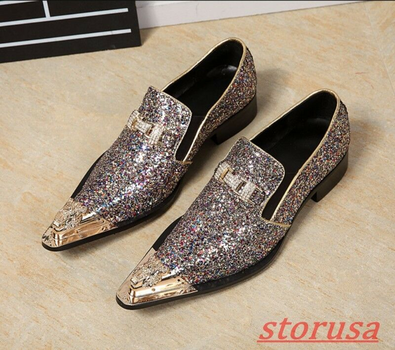Mens Pointed Toe Glitter Sequins Rhinestone Slip On Low Top Loafers Formal shoes