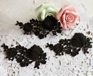 Bridal Lace Applique Embroidery Wedding Motif Black Lace Applique Trim 5 Pieces