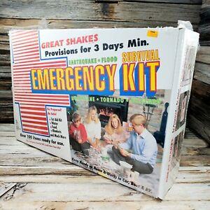 New- GREAT SHAKES Survival Emergency Kit Set 1st Aid Food Water Vintage