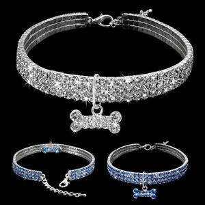 Pet-Dog-Puppy-Rhinestone-Bone-Pendant-Necklace-Cat-Elastic-Collar-Gift-Dulcet