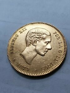 1879 SPAIN King ALFONSO XII Gold 25 Pesetas Antique Spanish Coin