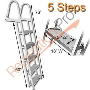 Heavy Duty Aluminum 5 Step Dock Ladder Removable Boarding