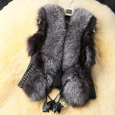 New Women Faux Fur&Leather Vest Outerwear Winter Warm Coat Jacket Waistcoats