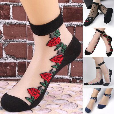 5 Pairs Women Girl Thin Lace Ice Silk Pattern Transparent Crystal Stocking Socks