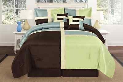 Brown Square Design Faux Silk  Oversize Comforter Set Queen King Aqua Sage