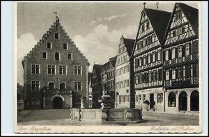 BAD MERGENTHEIM um 1933 Marktplatz Rathaus Denkmal mit Brunnen Verlag H. Kling