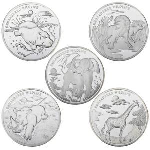 WR-Congo-2017-10-Francos-Elefante-Jirafa-rinocerontes-Hipopotamo-Leon-Set-5-Moneda-De-Plata