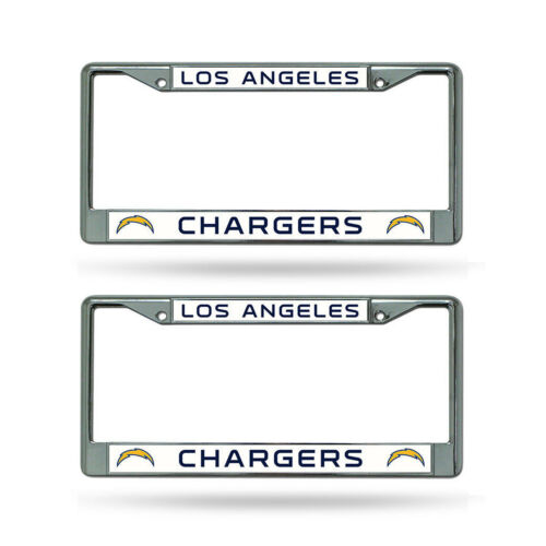 2 PC Football Los Angeles Chargers Metal Chrome Auto Tag License Plate Frame