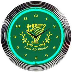 green Neon Clock Irish St Patricks day party Erin go bragh Gaelic bar lamp light