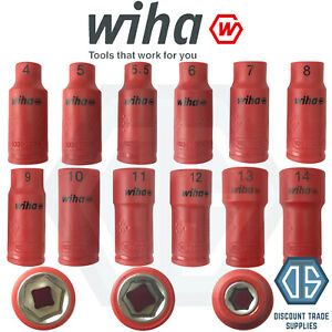 "Wiha 1//4/"" Insulated Hex Nut Driver Inserts 4mm-14mm hexagon head Full Range"